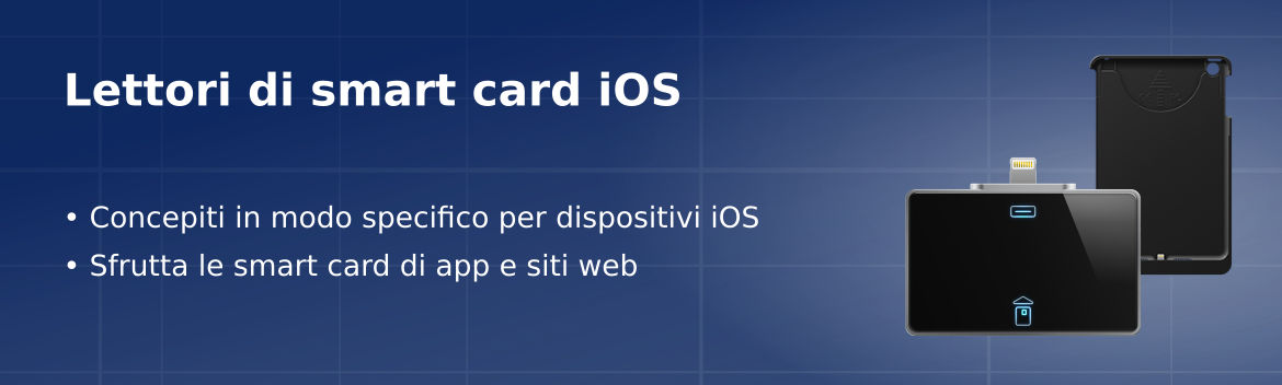 Lettori di smart card concepiti per dispositivi Apple iOS, iPhone, iPad e iPod. Lettori di smart card con certificazione MFi che supportano smart card ISO-7816.