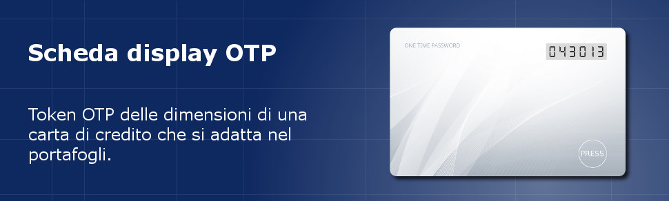 Token dimensioni carta di credito ISO-7810 ID-1 Scheda display password valida una sola volta OTP
